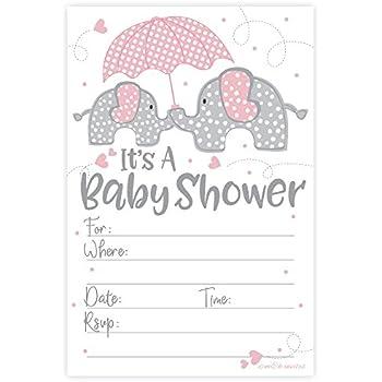 Amazon Com Pink Elephant Girl Baby Shower Invitations 20 Count