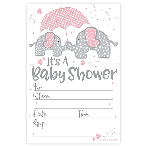 Pink Elephant Girl Baby Shower Invitations (20 Count) with Envelopes ()