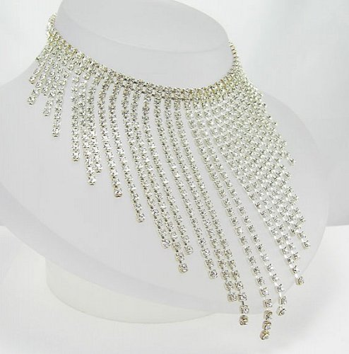 LJ Designs Waterfall Diamante Drop Choker - Silver Plated - Made With Crystals From Swarovski