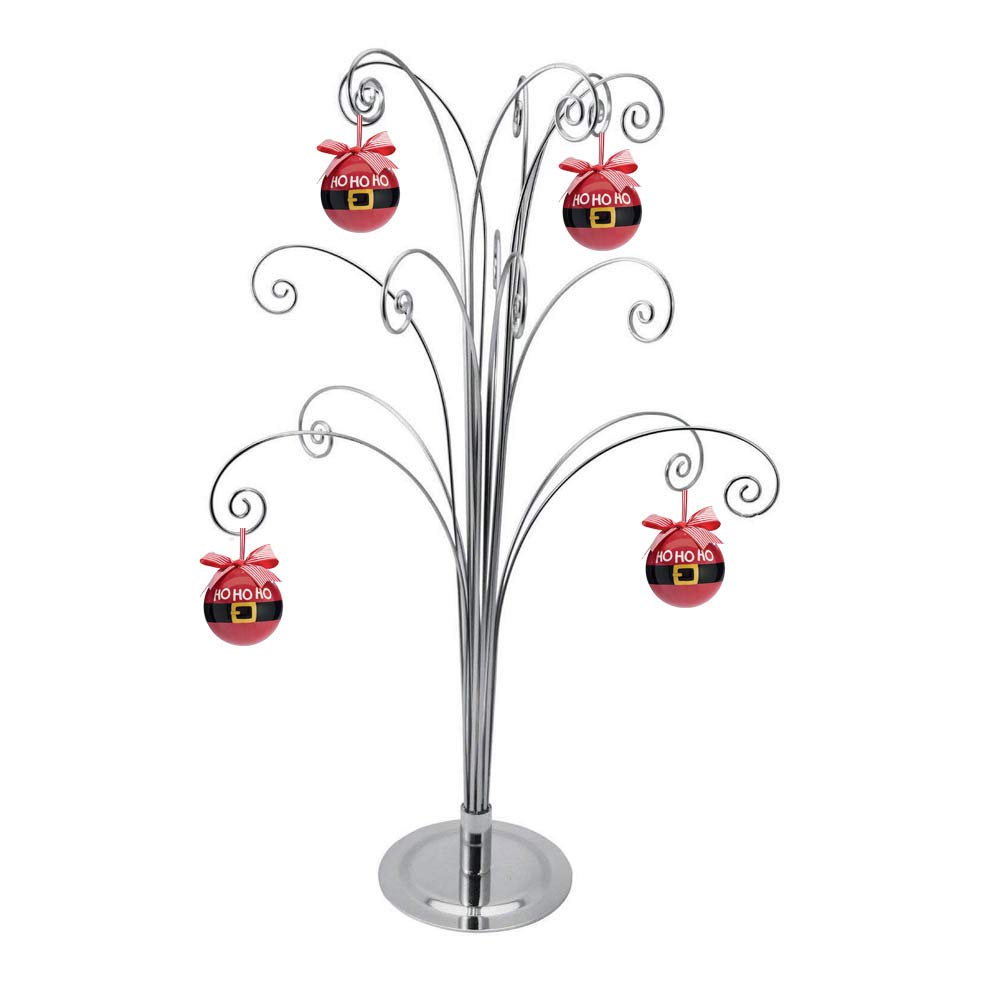 HOHIYA Ornament Display Stand Tree Metal Christmas Jewelry Holder Dog Cat Glass Wire 20inch Silver
