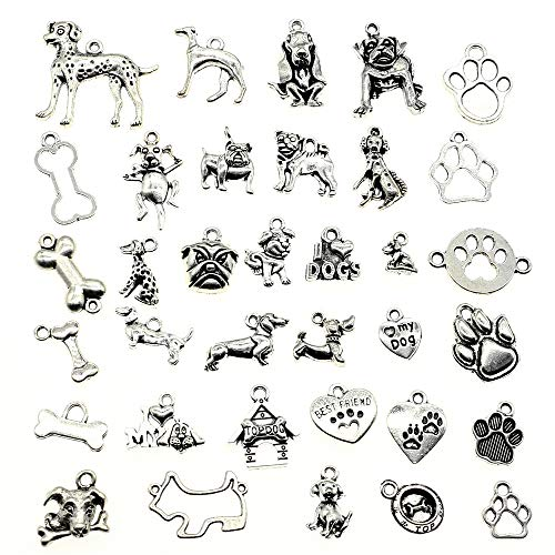 Chengxun 100g Wholesale Bulk Mixed Antique Bone Dog Paw Pendant Charms for Jewelry Making DIY Crafting Vintage Accessories ()