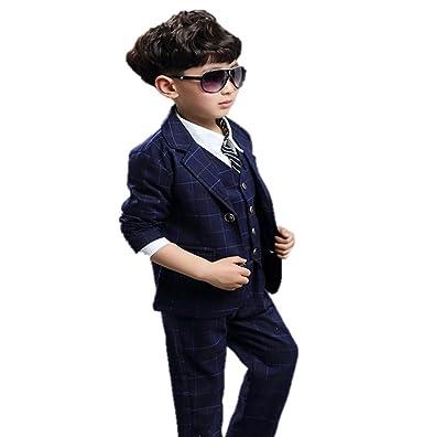 2cd694d782084 LIONEX 男の子フォーマル キッズ 子供服 ボーイズ tシャツ チェック柄 スーツ 上下ベスト3点