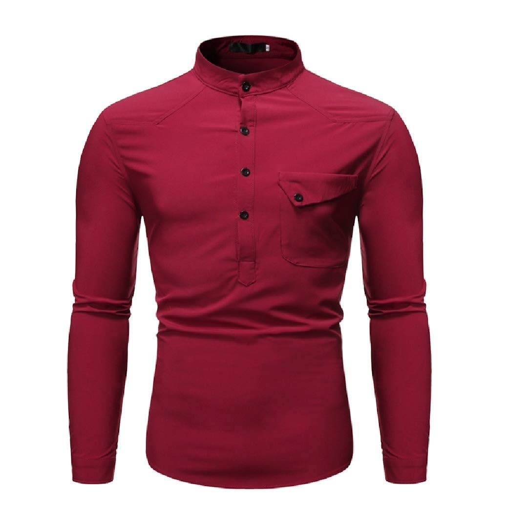 Tralounry Mens Slim Fit Stand Collar Fashion Long Sleeve Western Shirt