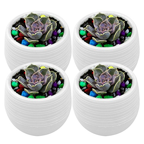 Kicode 4 Pack Practical Plastic Resin Round Ideal for Small Succulent - Home & Office Decor Accen (Round Flowers Colorful Tin)