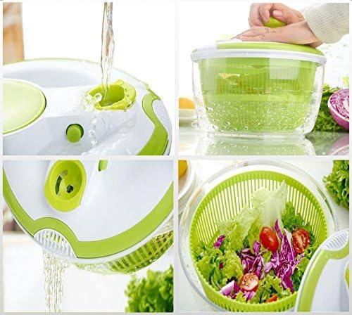 Transparente y verde by CASCACAVELLE Centrifugador Escurridor para ensaladas y verduras con manija retractable