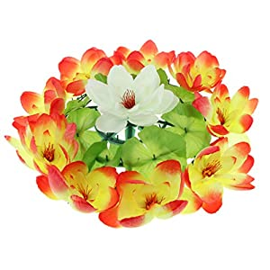 Fityle Simulation Lotus Flower Wreath Memorial Day Funeral Flower Wreath 17