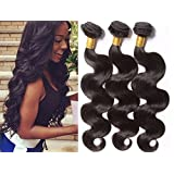 A2ZWIG 9A Unprocessed Brazilian Virgin Body Wave Remy Human Hair Extensions Weaves Wefts 3 Bundles 300 Grams with Closure (12 14 16 Inch)
