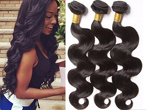 A2ZWIG 9A Unprocessed Brazilian Virgin Body Wave Remy Human Hair Extensions Weaves Wefts 3 Bundles 300 Grams (14 16 18 Inch)