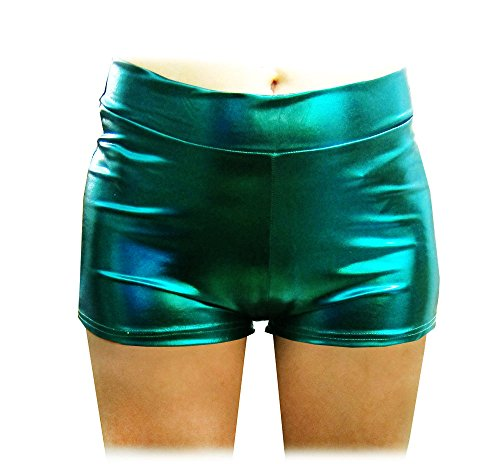 SACASUSA (TM) Shiny Stretchy Metallic Mini Shorts Hot Pants in Forest Green -
