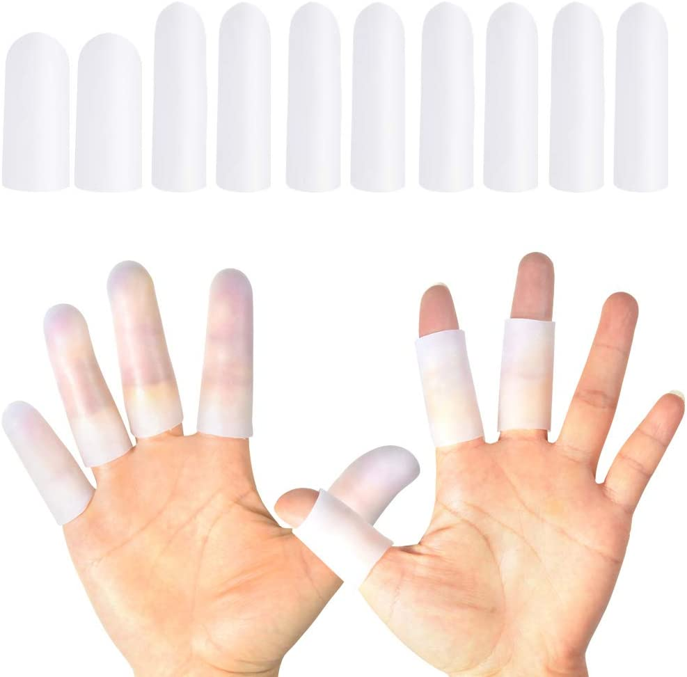 HioIoiH Silicone Finger Protectors 10 Pack, Gel Finger Cots & Protector,Relief from Pain of Finger Tips Cracked, Arthritis