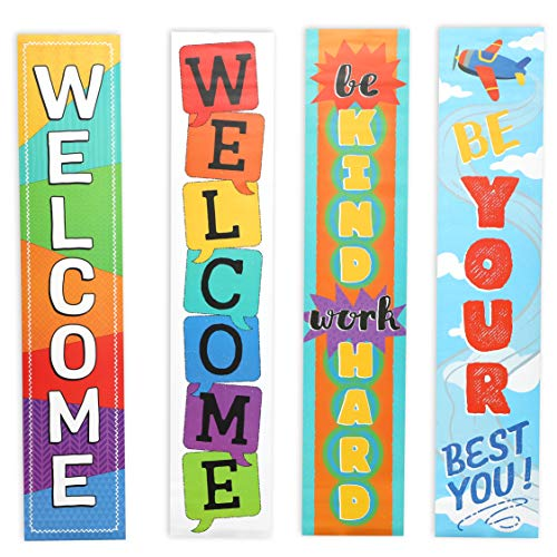 Juvale 4-Piece Set Classroom Welcome Banner Signs, Decorations for Teachers, 4 Designs, 8 x 39 Inches]()