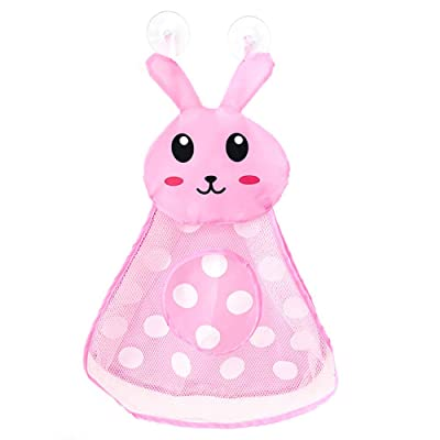 Yinuoday Bath Toy Organizer Net, Mesh Bath Toy Storage for Baby, Bath Toy Rrganizer Bathtub Toy Holder Frog Net Bag for Kids Strong Hook Suction for Small Bathrooms (Pink Rabbit): Toys & Games