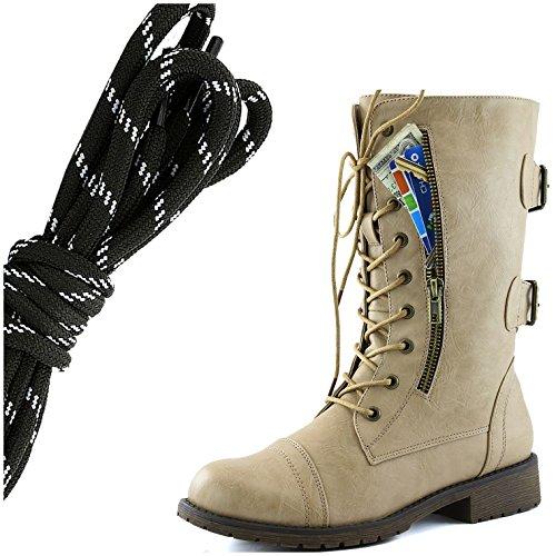 Dailyshoes Donna Militare Allacciatura Fibbia Da Combattimento Stivali Mid Knee Alta Esclusiva Tasca Per Carte Di Credito, Nero Bianco Flirty Beige