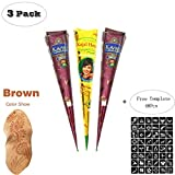 ZEYER India Tattoo Stencil/Temporary Tattoos Paste Cone Tattoo Kit Temporary Brown Paste Cones for Body Art Drawing Painting with 48 Pcs Adhesive Stencil Set