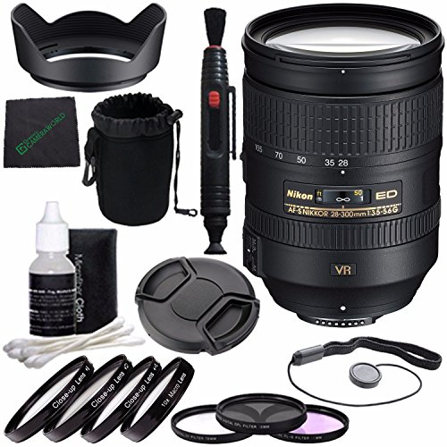 Nikon AF-S NIKKOR 28-300mm f/3.5-5.6G ED VR Lens + 77mm 3 Piece Filter Set (UV, CPL, FL) + 77mm +1 +2 +4 +10 Close-Up Macro Filter Set with Pouch + Lens Cap + Lens Hood + Lens Cleaning Pen Bundle ()