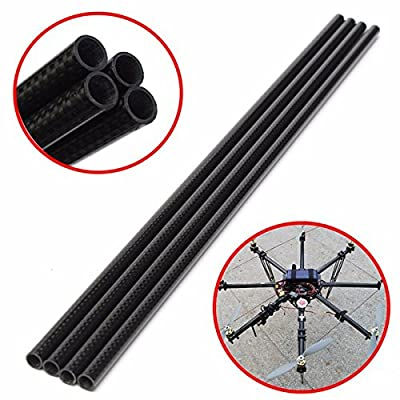 CynKen 4pcs 3K 8mm x 10mm x 500mm Roll Wrapped Carbon Fiber Tube Boom for Multicopter