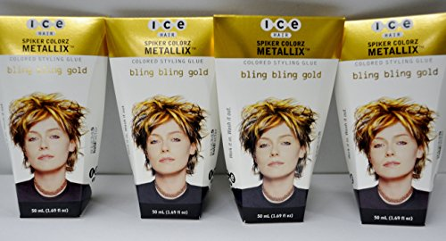 Joico ICE Hair - Spiker Colorz - Colored Styling Glue - Bling Bling Gold 1.7oz (4 Pack) by Ice