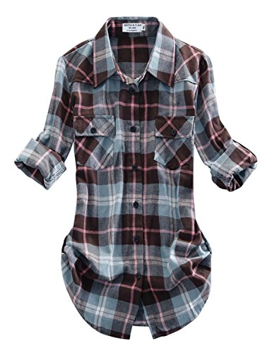 - Match Women's Long Sleeve Plaid Flannel Shirt #2021(Large, Checks#13)