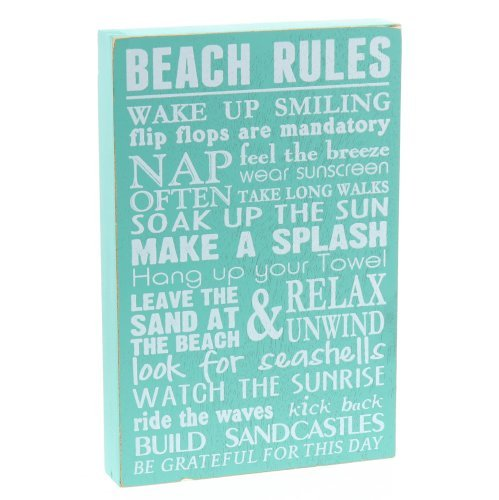 Barnyard Designs Beach Rules Wooden Box Wall Sign Beach House Decor Sign 12