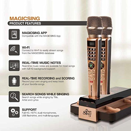 2018 Magic Sing E5 WiFi Two Wireless Karaoke Mics Free 12K English songs &  1 Year Subscription for 220,000 songs: Tagalog Hindi Spanish Korean Chinese
