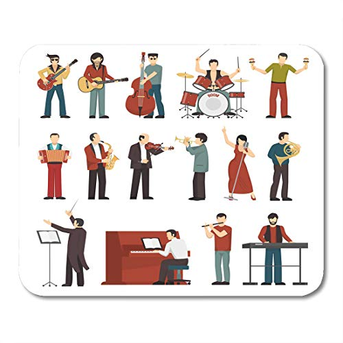 Emvency Mouse Pads Colored Musicians Figures with Different Musical Instruments of Conductor Guitarist Singer Drummer Mouse Pad 9.5