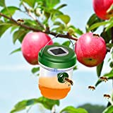 DAPRIL Wasp Trap Catcher, Life Outdoor Solar Powered Ultraviolet LED Light, Perfect for Wasps, Bees, Yellow Jackets, Hornets, Bugs, Fly and More (Green) (advanced)