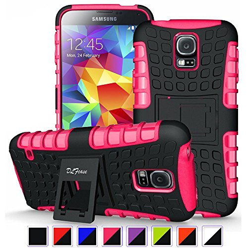 Galaxy S5 Case,[ Shockproof ] Samsung Galaxy S5 Case Heavy Duty Rugged Dual Layer TPU Textured Non Slip Reinforced Polycarbonate Hybrid Case for Samsung Galaxy S5 with Kickstand (Black +Hot Pink) (Case Kickstand Pink)