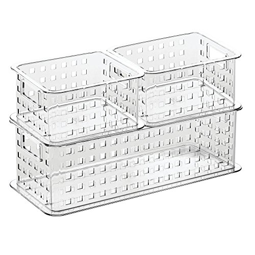 InterDesign Stack & Slide Storage Baskets (Set of 3), Clear