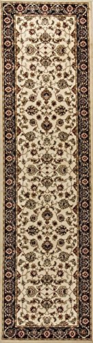 Made Rug Machine Traditional (Noble Sarouk Ivory Persian Floral Oriental Formal Traditional Rug 2x7 ( 2'3