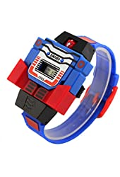 Skmei Boys Children Kids Digital Pu Watch Transformers Bumblebee Cartoon Wristwatch