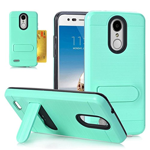 Enjocho Fashion Card Slot Design Shockproof Brushed Hard PC + Silicone Case Cover Stand Holder For Tribute Dynasty LV3 (2018) (Mint Green) (Tribute Mint)