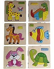 6 في 1 أشكال بازل بتصميم آمن ثلاثي الابعاد - 3D - من الخشب تعليمي - للاطفال الصغار يساعد علي الابتكار و الاكتشاف- زرافة ديناصور حصان أرنب سمكة سلحفاة