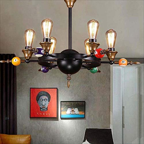 (HYJHDD Retro Industrial Wind Wrought Iron Lamps Billiard Room bar Coffee Shop Personality Creative Industrial Decorative Chandelier)