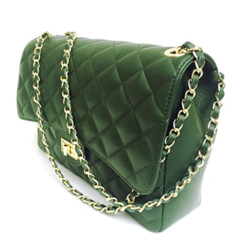 Leather Superflybags Made Model Women's Handbag In Xl parigi Genuine Quilted Green Dark Italy Italian gfxHwqISf