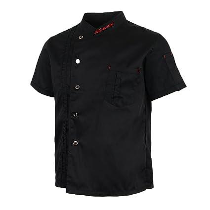 Chaquetas de Chef Unisex Capa Camisa Manga Corta Uniformes de Cocina Ropa Panadero - Negro, 2XL: Amazon.es: Ropa y accesorios