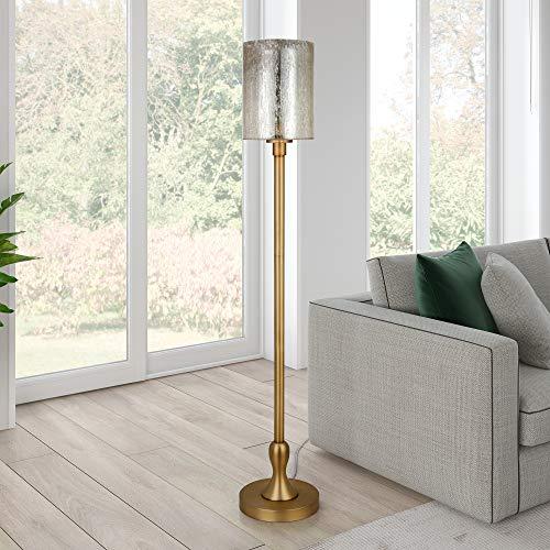 HennHart-FL0366-Seeded-Glass-Lantern-Floor-Lamp-Gold