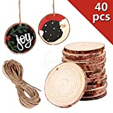 "40Pcs 2""-2.4"" Unfinished Natural Wood Slices Craft Wood Kit Unfinished Predrilled with Hole Wooden Circles for Arts and Crafts Christmas Ornaments DIY Crafts (40Pcs 2""-2.4"")"
