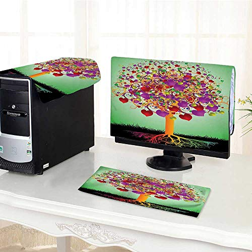 (Computer Cover 3 Pieces Tree with Blossomed Heart and Round Leaves and Roots Lifeative ES Antistatic, Water Resistant /32
