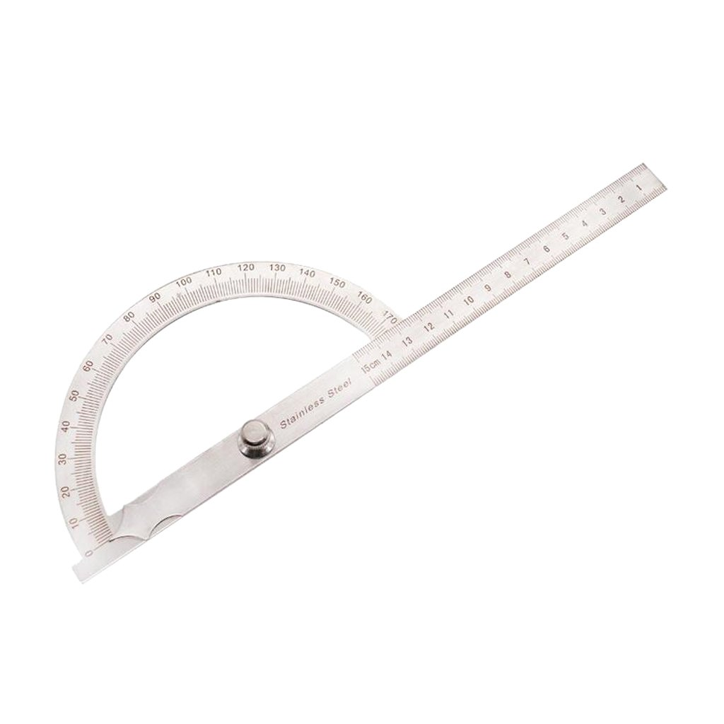 MonkeyJack Protractor 180 Degree Ruler Measuring f/ School Home Commercial Wood Working - Silver, 0-150mm
