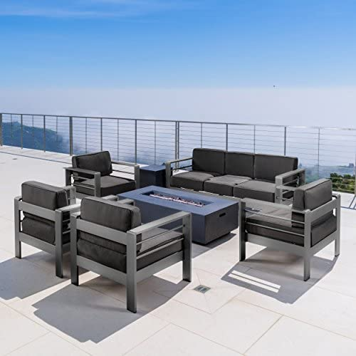 Coral Bay Outdoor Grey Aluminum 7 Piece Sofa Chat Set