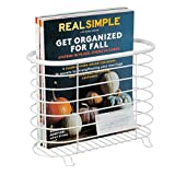 mDesign Decorative Modern Magazine Holder and Organizer Bin - Standing Rack for Magazines, Books, Newspapers, Tablets in Bathroom, Family Room, Office, Den - Steel Wire Design - Matte White