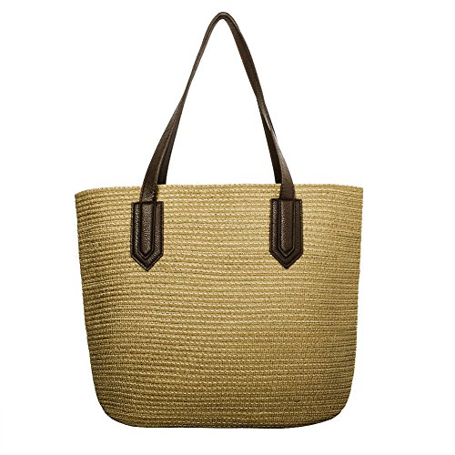 Myathle Summer Beach Handmade Tote Handbag Cotton Lining PU Leather for Women ()