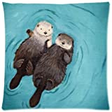 HLPPC Otters Hold Hands 18 x 18 Cotton & Polyster Decrative Pillowcase Zippered Cushion Cover