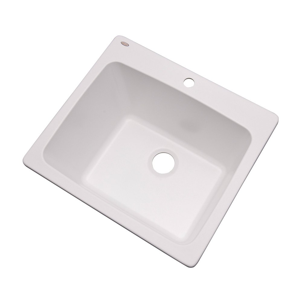 "Dekor Sinks 42100NSC Westworth Composite Utility Sink with One Hole, 25"", White Natural Stone"
