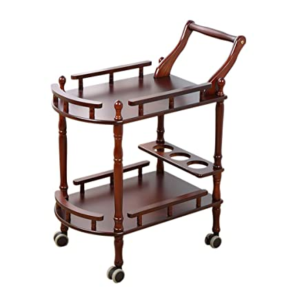 0a70f1054232 Amazon.com - Serving Wine Cart Caster Wheels, 2-Tier Rolling Pine ...