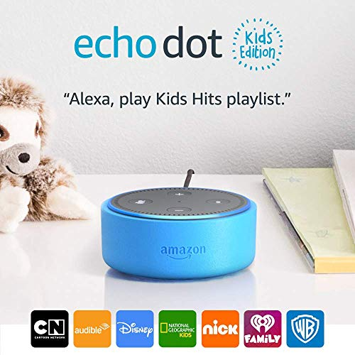Echo Dot Kids Edition, a smart speaker with 1 year of FreeTime Unlimited – blue case