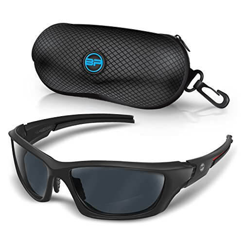 BLUPOND Baseball Sunglasses for Men/Women Sport TR90 Light Weight Frames and Polarized Lens (Black/Red, - Frame Glasses Weight