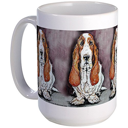 CafePress Bassett Hound Trio Large Mug Coffee Mug, Large 15 oz. White Coffee Cup
