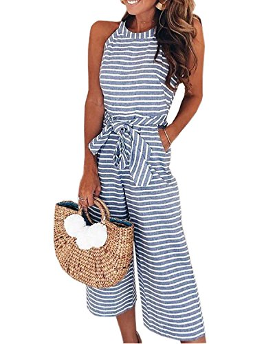 AELSON Women Sleeveless Striped Jumpsuits Waist Belted Wide Leg Pants Romper with Pockets