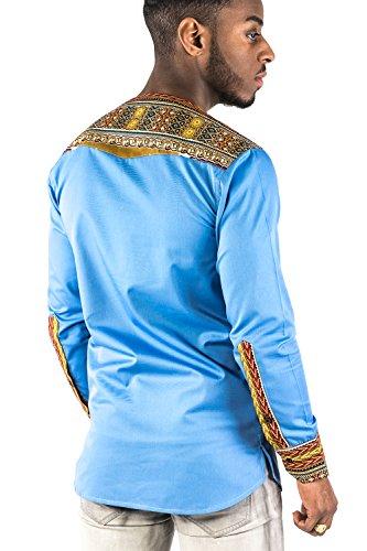 Mode Acp Chemise Bleu Ciel Coton Glace Avec Du Wax Africain Bleu